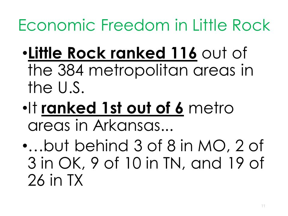 Economic Freedom in Little Rock Little Rock ranked 116 out of the 384 metropolitan areas in the U.S.