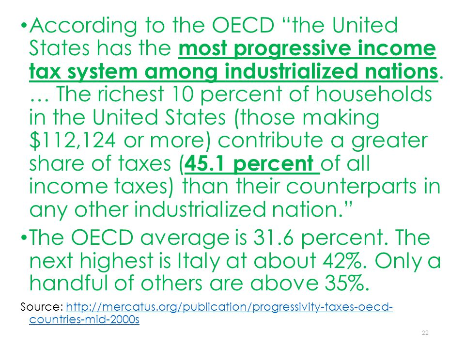 According to the OECD the United States has the most progressive income tax system among industrialized nations.