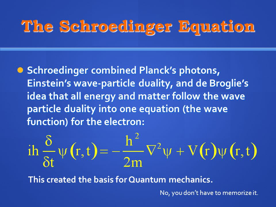 The Schroedinger Equation Schroedinger combined Planck's photons, Einstein's wave-particle duality, and de Broglie's idea that all energy and matter follow the wave particle duality into one equation (the wave function) for the electron: Schroedinger combined Planck's photons, Einstein's wave-particle duality, and de Broglie's idea that all energy and matter follow the wave particle duality into one equation (the wave function) for the electron: No, you don't have to memorize it.