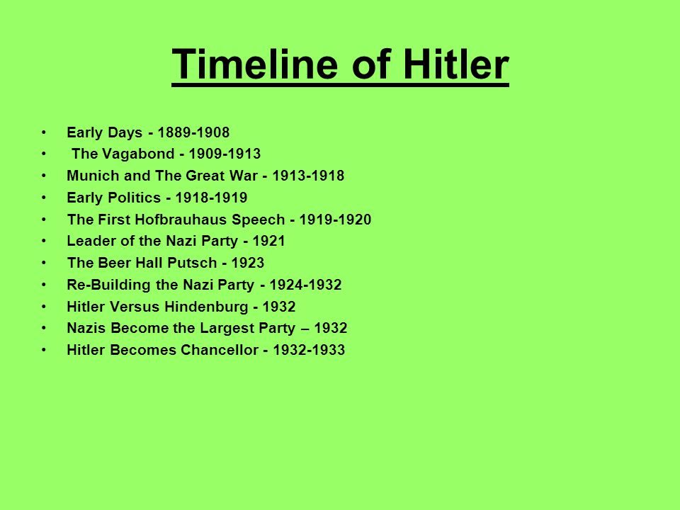 Timeline of Hitler Early Days - 1889-1908 The Vagabond - 1909-1913 Munich and The Great War - 1913-1918 Early Politics - 1918-1919 The First Hofbrauhaus Speech - 1919-1920 Leader of the Nazi Party - 1921 The Beer Hall Putsch - 1923 Re-Building the Nazi Party - 1924-1932 Hitler Versus Hindenburg - 1932 Nazis Become the Largest Party – 1932 Hitler Becomes Chancellor - 1932-1933
