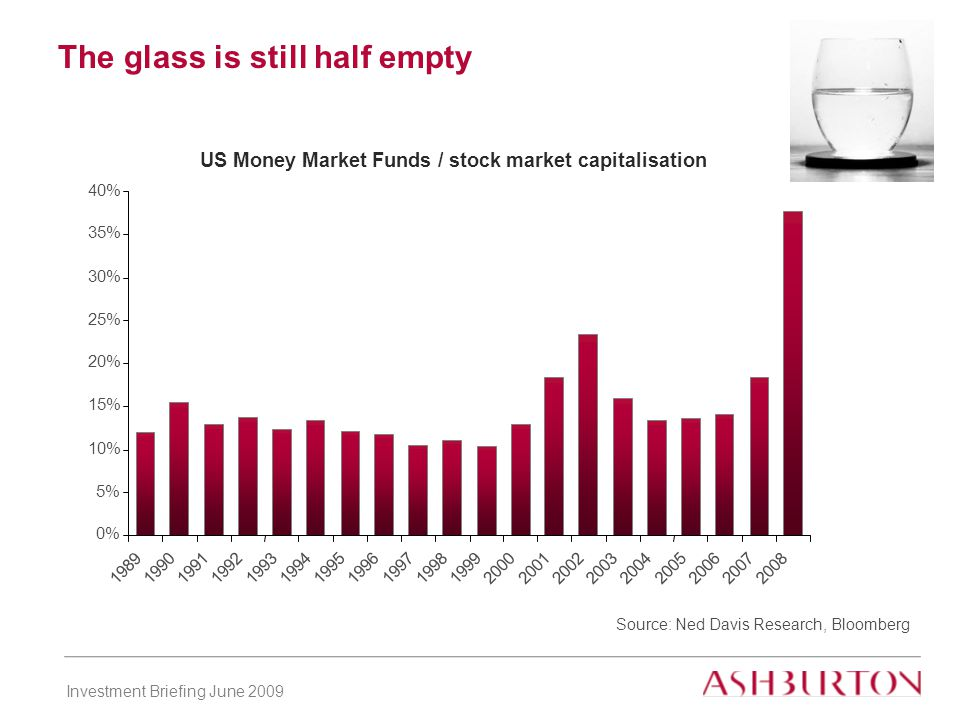 Investment Briefing June 2009 The glass is still half empty Source: Ned Davis Research, Bloomberg US Money Market Funds / stock market capitalisation 0% 5% 10% 15% 20% 25% 30% 35% 40% 1989 1990199119921993199419951996199719981999200020012002200320042005200620072008