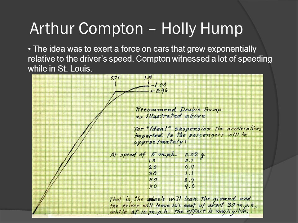 Arthur Compton – Holly Hump The idea was to exert a force on cars that grew exponentially relative to the driver's speed.
