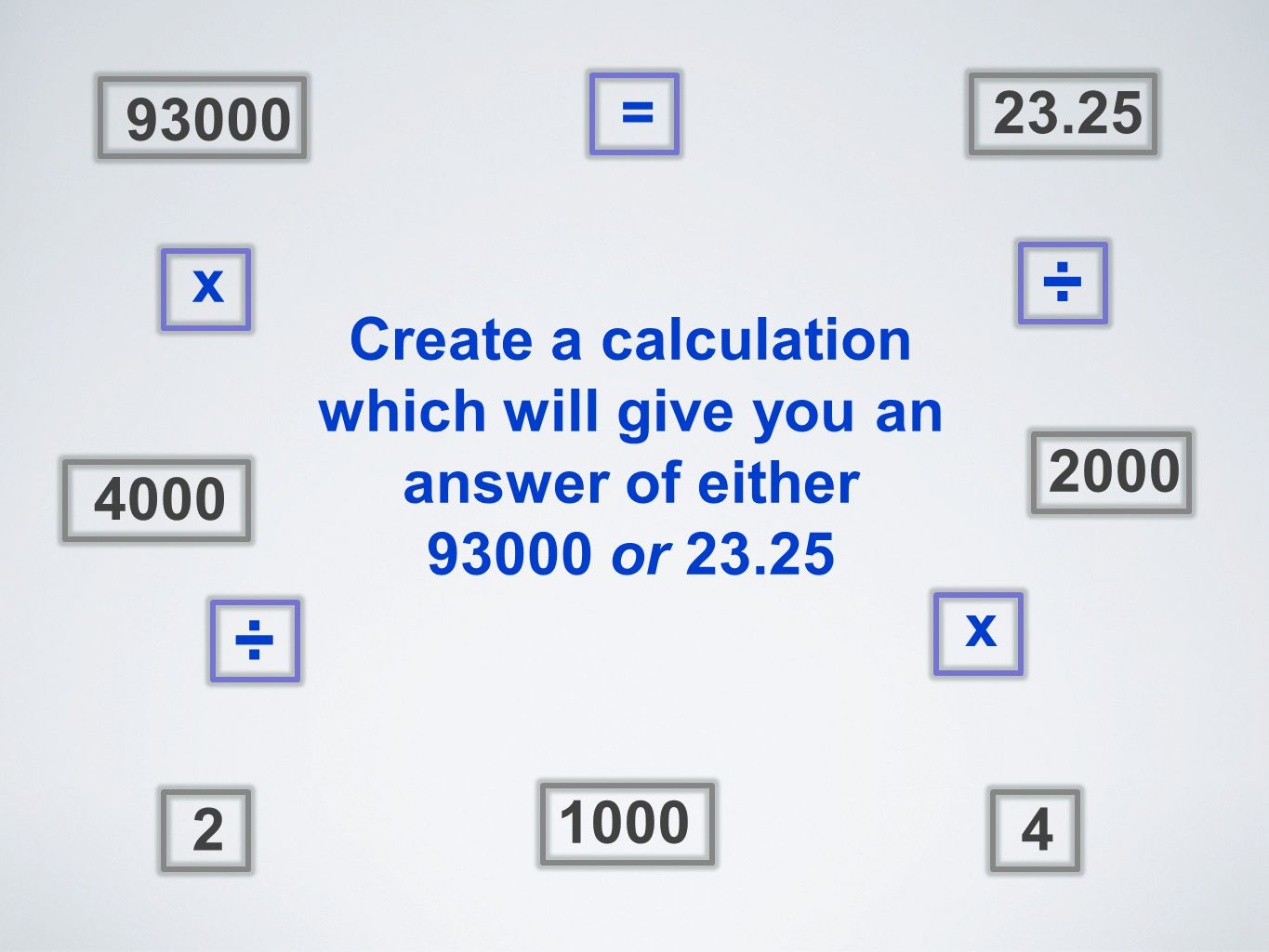 4000 93000 1000 23.25 24 2000 = ÷ x x ÷ Create a calculation which will give you an answer of either 93000 or 23.25