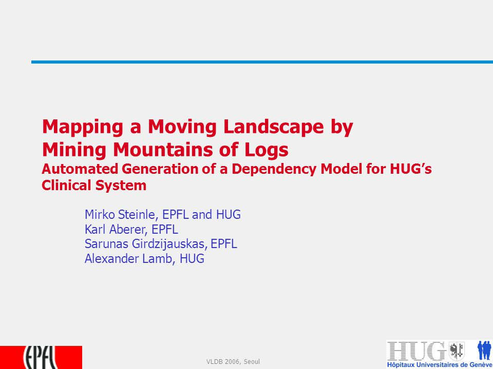 1 VLDB 2006, Seoul Mapping a Moving Landscape by Mining Mountains of Logs Automated Generation of a Dependency Model for HUG's Clinical System Mirko Steinle, EPFL and HUG Karl Aberer, EPFL Sarunas Girdzijauskas, EPFL Alexander Lamb, HUG