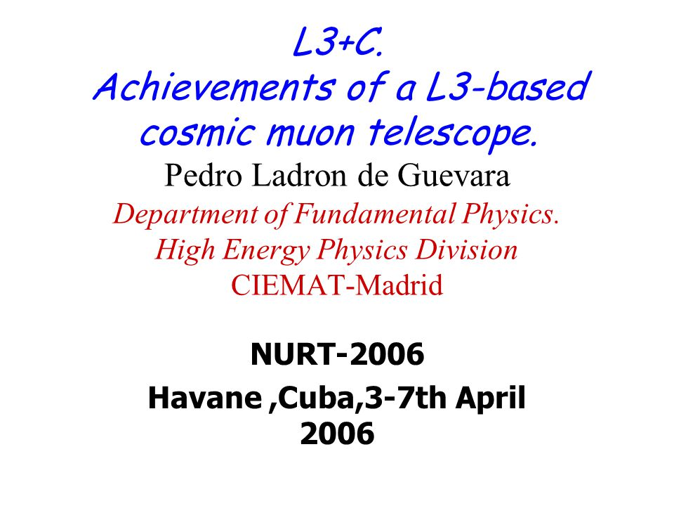NURT-2006 Havane,Cuba,3-7th April 2006 L3+C. Achievements of a L3-based cosmic muon telescope.