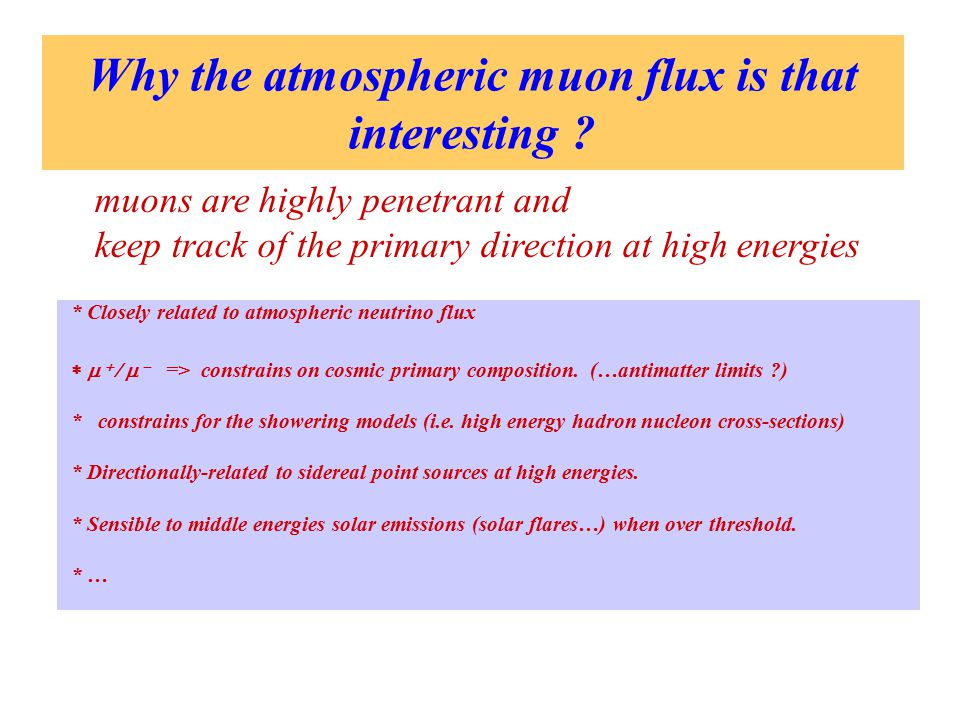 Why the atmospheric muon flux is that interesting .