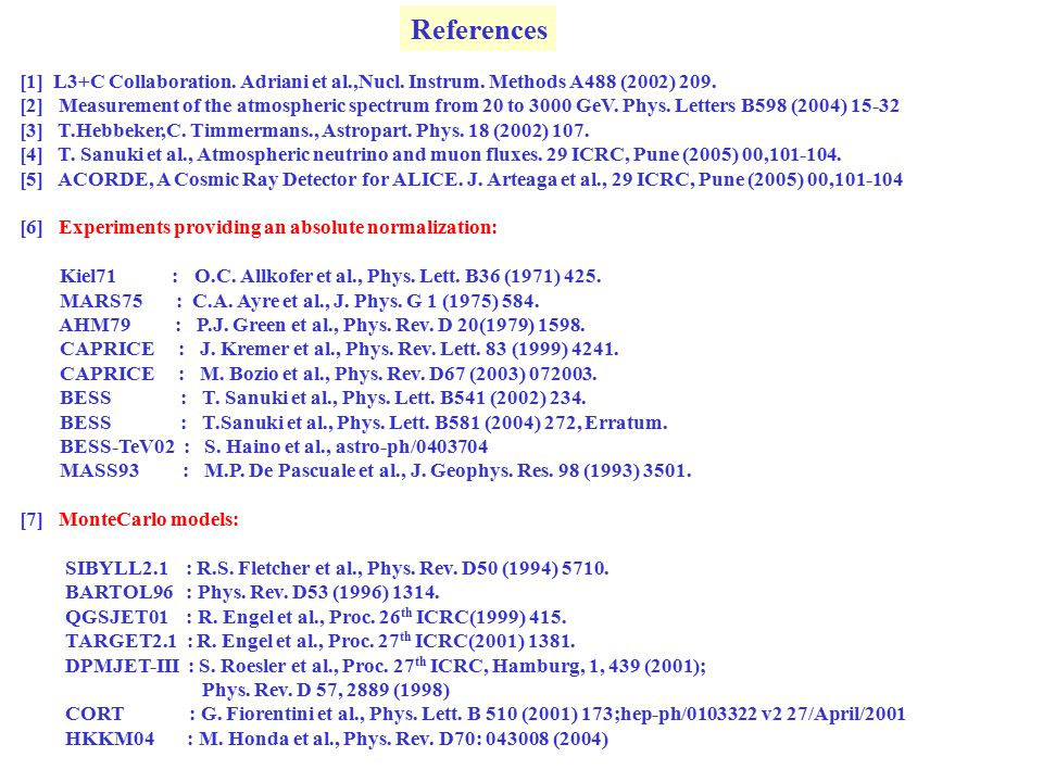References [1] L3+C Collaboration. Adriani et al.,Nucl.