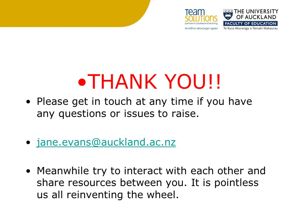 THANK YOU!. Please get in touch at any time if you have any questions or issues to raise.