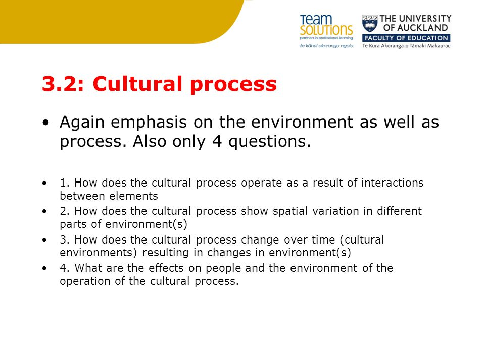 3.2: Cultural process Again emphasis on the environment as well as process.