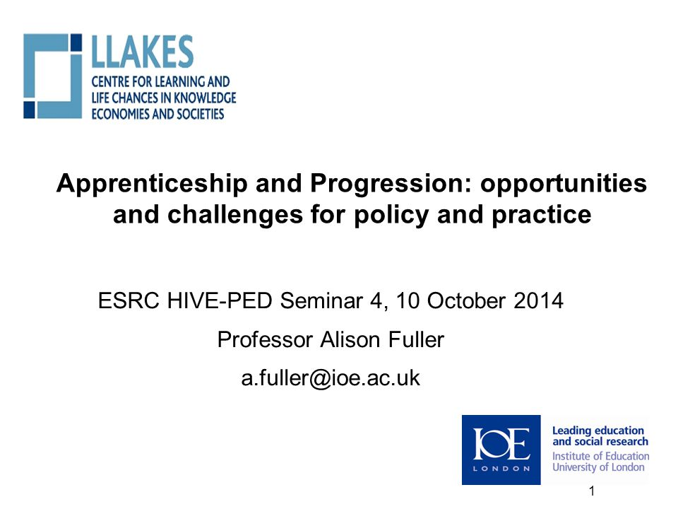 Apprenticeship and Progression: opportunities and challenges for policy and practice ESRC HIVE-PED Seminar 4, 10 October 2014 Professor Alison Fuller a.fuller@ioe.ac.uk 1 1