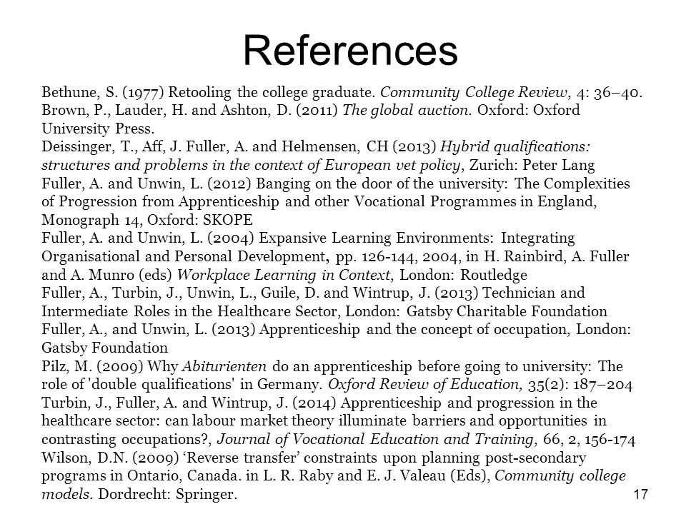 References Bethune, S. (1977) Retooling the college graduate.