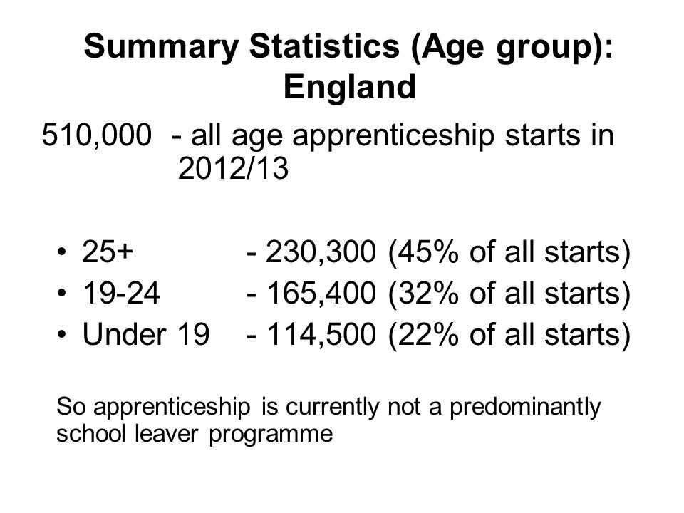 Summary Statistics (Age group): England 510,000 - all age apprenticeship starts in 2012/13 25+- 230,300 (45% of all starts) 19-24- 165,400 (32% of all starts) Under 19- 114,500 (22% of all starts) So apprenticeship is currently not a predominantly school leaver programme