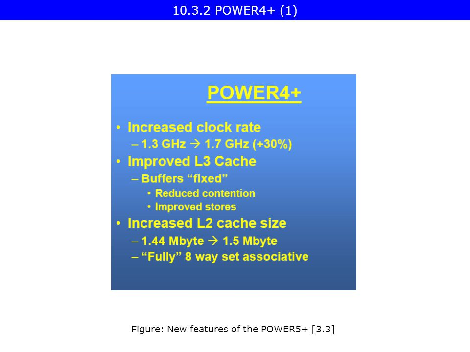 POWER4+ (1) Figure: New features of the POWER5+ [3.3]