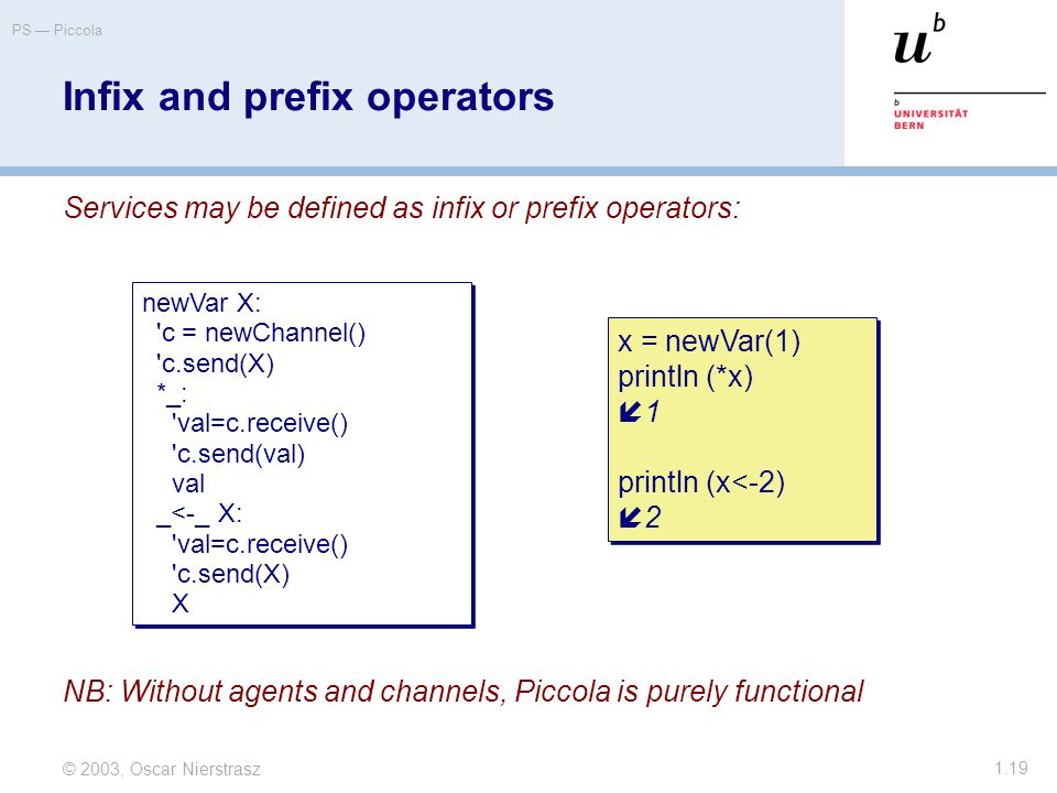© 2003, Oscar Nierstrasz PS — Piccola 1.19 Infix and prefix operators Services may be defined as infix or prefix operators: newVar X: c = newChannel() c.send(X) *_: val=c.receive() c.send(val) val _<-_ X: val=c.receive() c.send(X) X newVar X: c = newChannel() c.send(X) *_: val=c.receive() c.send(val) val _<-_ X: val=c.receive() c.send(X) X x = newVar(1) println (*x)  1 println (x<-2)  2 x = newVar(1) println (*x)  1 println (x<-2)  2 NB: Without agents and channels, Piccola is purely functional