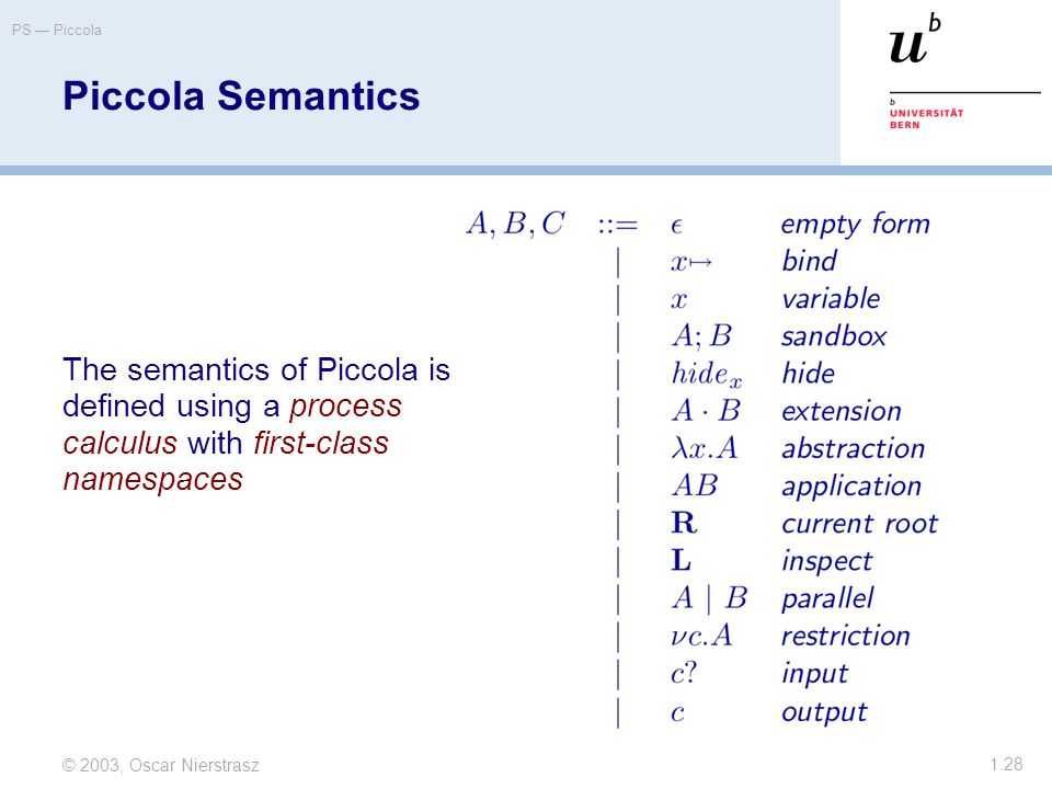 © 2003, Oscar Nierstrasz PS — Piccola 1.28 Piccola Semantics The semantics of Piccola is defined using a process calculus with first-class namespaces