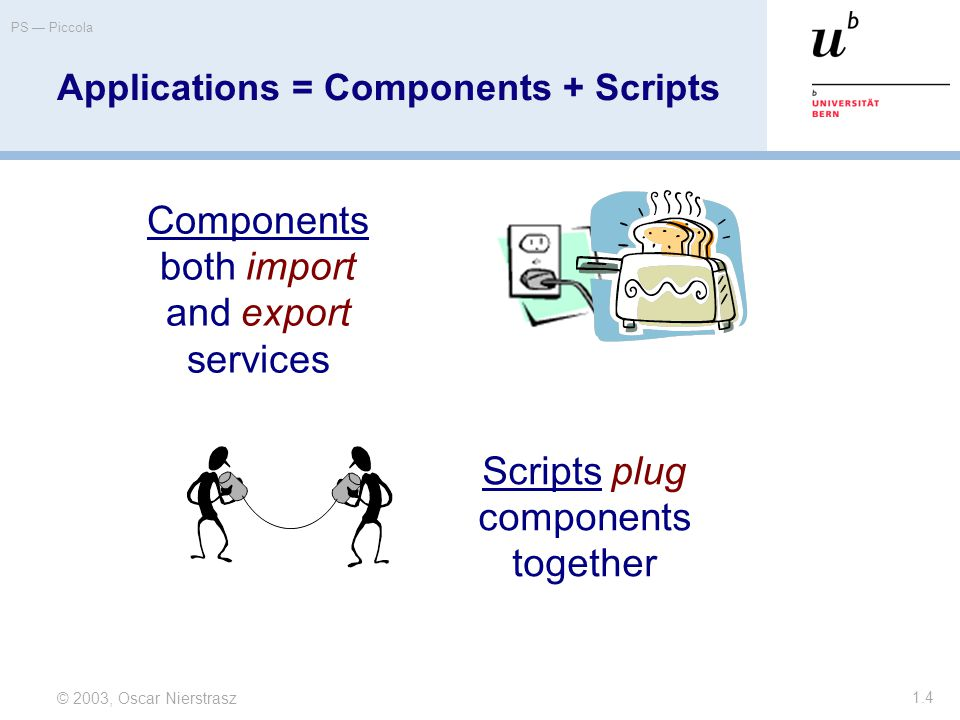 © 2003, Oscar Nierstrasz PS — Piccola 1.4 Applications = Components + Scripts Components both import and export services Scripts plug components together