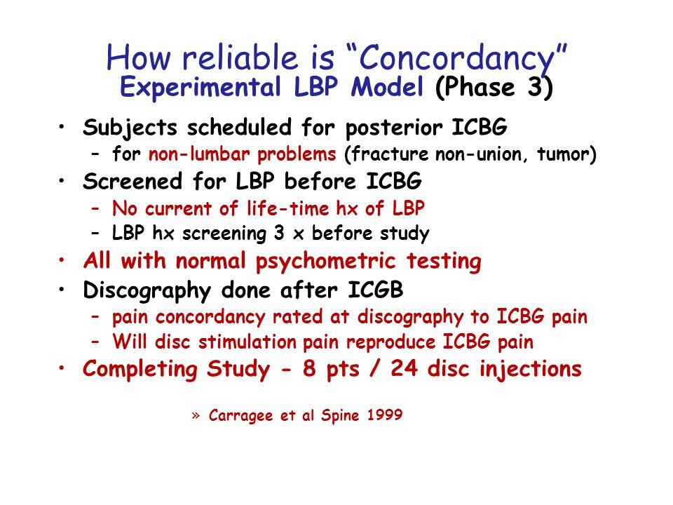 How reliable is Concordancy Experimental LBP Model (Phase 3) Subjects scheduled for posterior ICBG –for non-lumbar problems (fracture non-union, tumor) Screened for LBP before ICBG –No current of life-time hx of LBP –LBP hx screening 3 x before study All with normal psychometric testing Discography done after ICGB –pain concordancy rated at discography to ICBG pain –Will disc stimulation pain reproduce ICBG pain Completing Study - 8 pts / 24 disc injections »Carragee et al Spine 1999