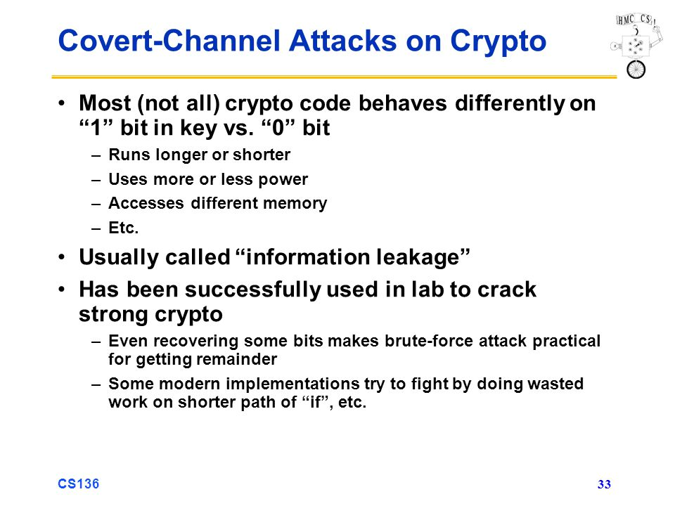 CS136 33 Covert-Channel Attacks on Crypto Most (not all) crypto code behaves differently on 1 bit in key vs.