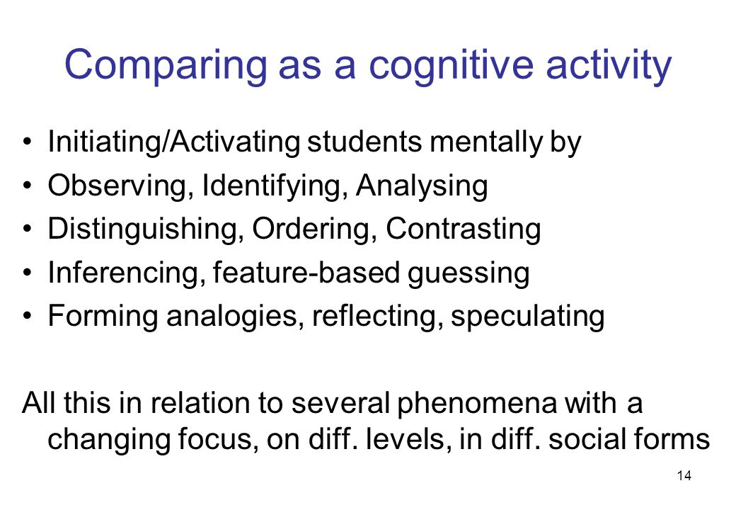 14 Comparing as a cognitive activity Initiating/Activating students mentally by Observing, Identifying, Analysing Distinguishing, Ordering, Contrasting Inferencing, feature-based guessing Forming analogies, reflecting, speculating All this in relation to several phenomena with a changing focus, on diff.