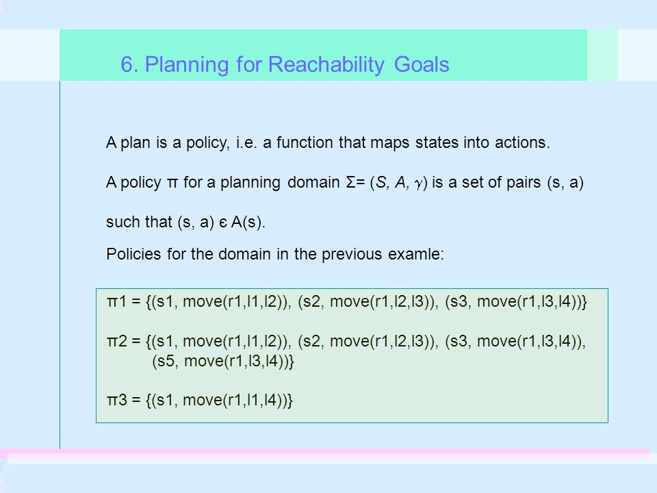 6. Planning for Reachability Goals A plan is a policy, i.e.