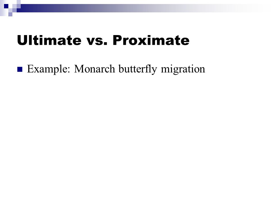 Ultimate vs. Proximate Example: Monarch butterfly migration
