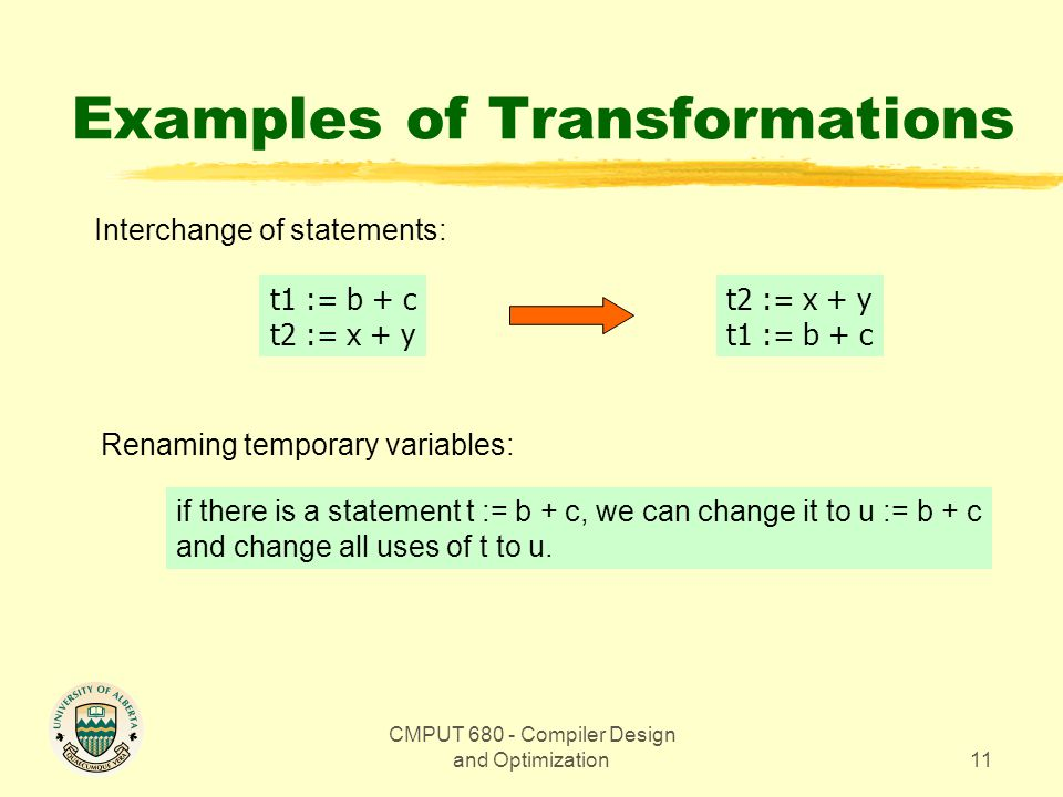 CMPUT 680 - Compiler Design and Optimization11 Examples of Transformations Interchange of statements: t1 := b + c t2 := x + y t1 := b + c Renaming temporary variables: if there is a statement t := b + c, we can change it to u := b + c and change all uses of t to u.