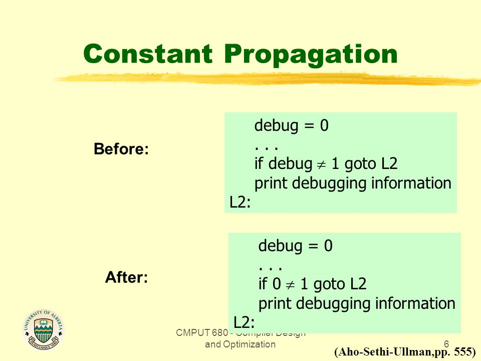 CMPUT 680 - Compiler Design and Optimization6 Constant Propagation Before: (Aho-Sethi-Ullman,pp.