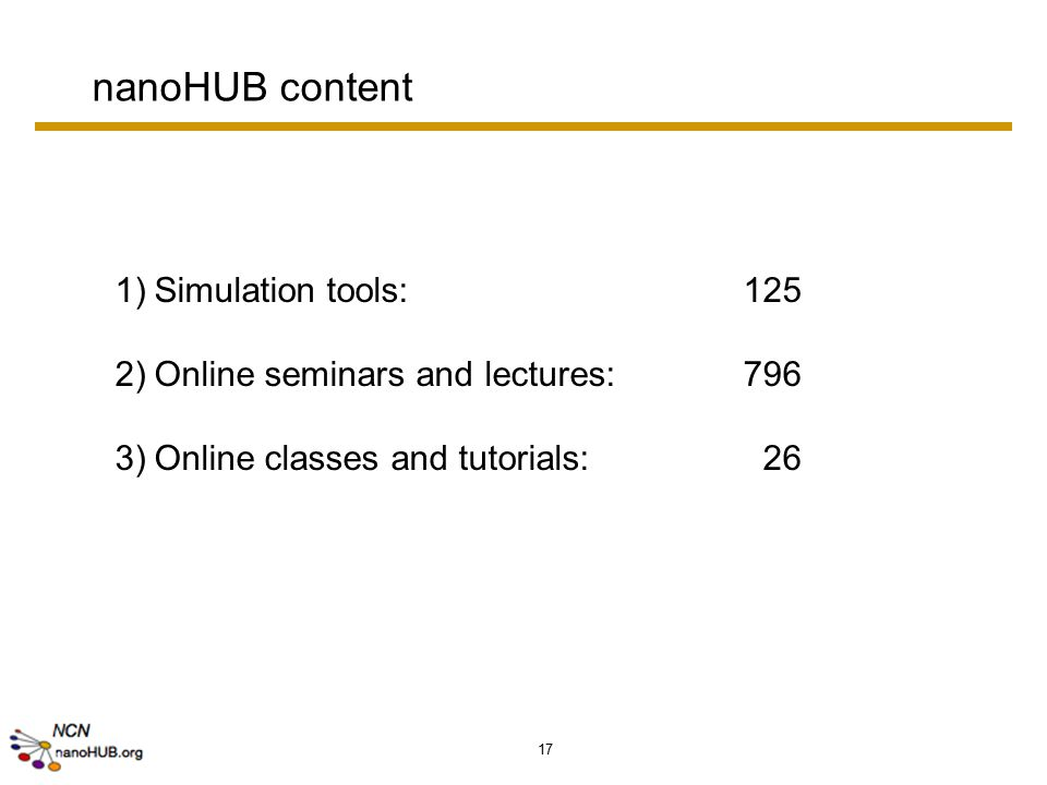 17 nanoHUB content 1)Simulation tools: 125 2)Online seminars and lectures:796 3)Online classes and tutorials: 26