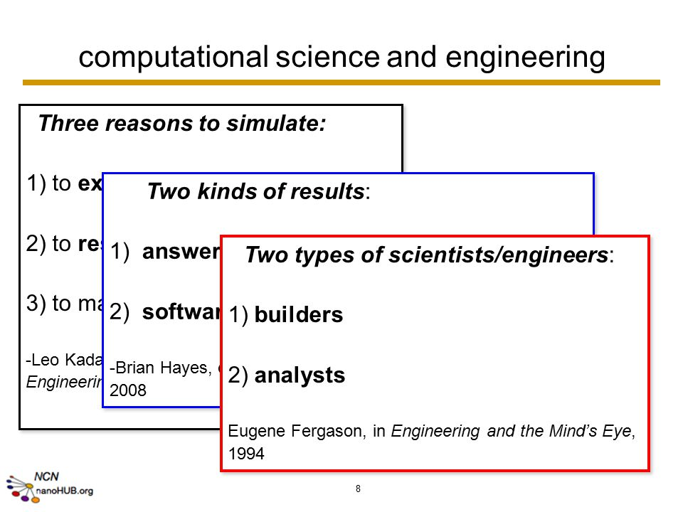 8 computational science and engineering Three reasons to simulate: 1) to explore uncharted territory 2) to resolve well-posed questions 3) to make good design choices -Leo Kadanov, Computing in Science and Engineering, 2004 Three reasons to simulate: 1) to explore uncharted territory 2) to resolve well-posed questions 3) to make good design choices -Leo Kadanov, Computing in Science and Engineering, 2004 Two kinds of results: 1) answers and understanding 2) software -Brian Hayes, on inquisitive computing in American Scientist, 2008 Two kinds of results: 1) answers and understanding 2) software -Brian Hayes, on inquisitive computing in American Scientist, 2008 Two types of scientists/engineers: 1) builders 2) analysts Eugene Fergason, in Engineering and the Mind's Eye, 1994 Two types of scientists/engineers: 1) builders 2) analysts Eugene Fergason, in Engineering and the Mind's Eye, 1994