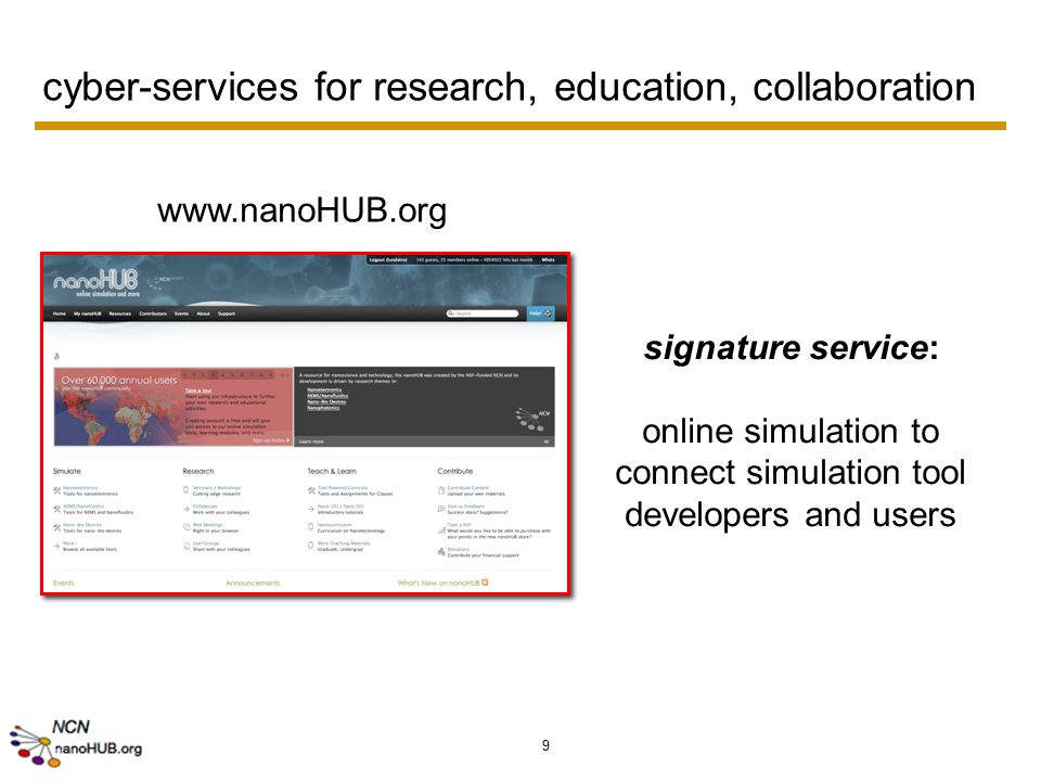 9 cyber-services for research, education, collaboration www.nanoHUB.org signature service: online simulation to connect simulation tool developers and users