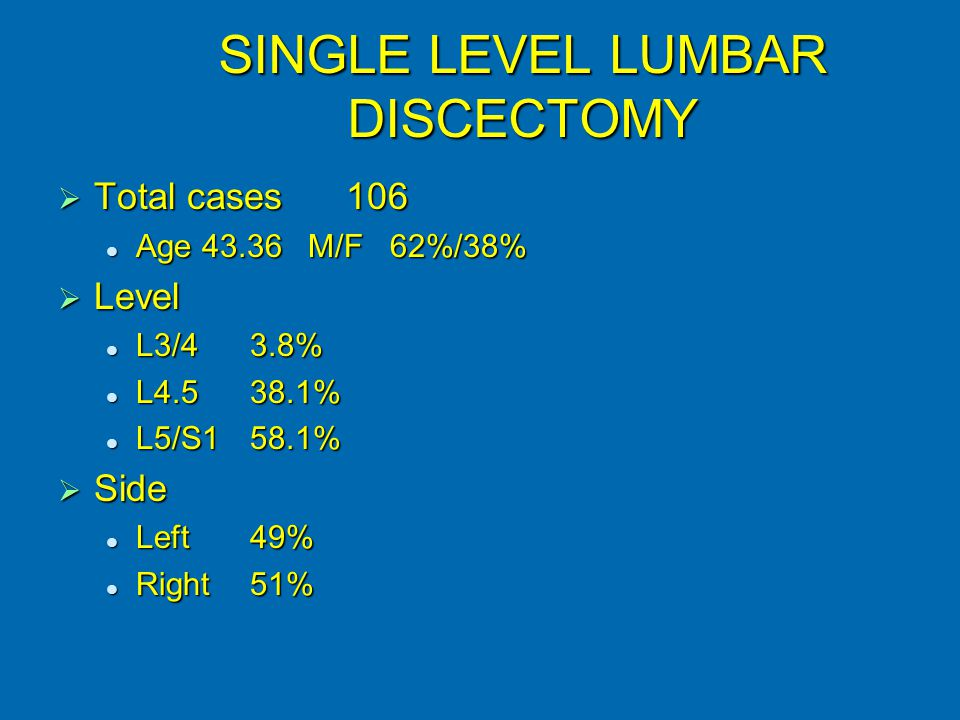SINGLE LEVEL LUMBAR DISCECTOMY  Total cases106 Age 43.36 M/F 62%/38% Age 43.36 M/F 62%/38%  Level L3/43.8% L3/43.8% L4.538.1% L4.538.1% L5/S158.1% L5/S158.1%  Side Left49% Left49% Right51% Right51%