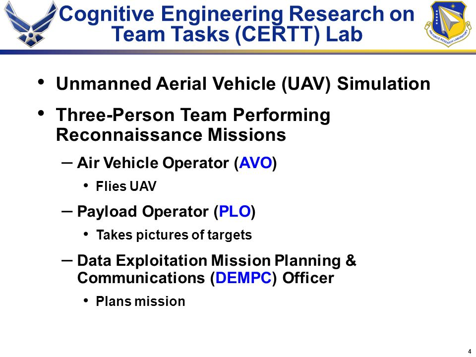 4 Unmanned Aerial Vehicle (UAV) Simulation Three-Person Team Performing Reconnaissance Missions – Air Vehicle Operator (AVO) Flies UAV – Payload Operator (PLO) Takes pictures of targets – Data Exploitation Mission Planning & Communications (DEMPC) Officer Plans mission Cognitive Engineering Research on Team Tasks (CERTT) Lab
