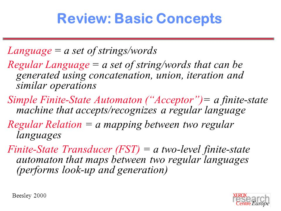 Beesley 2000 Review: Basic Concepts Language = a set of strings/words Regular Language = a set of string/words that can be generated using concatenation, union, iteration and similar operations Simple Finite-State Automaton ( Acceptor )= a finite-state machine that accepts/recognizes a regular language Regular Relation = a mapping between two regular languages Finite-State Transducer (FST) = a two-level finite-state automaton that maps between two regular languages (performs look-up and generation)