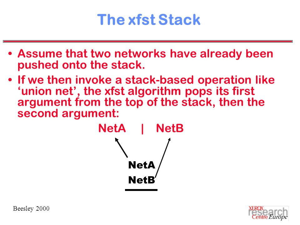 Beesley 2000 The xfst Stack Assume that two networks have already been pushed onto the stack.