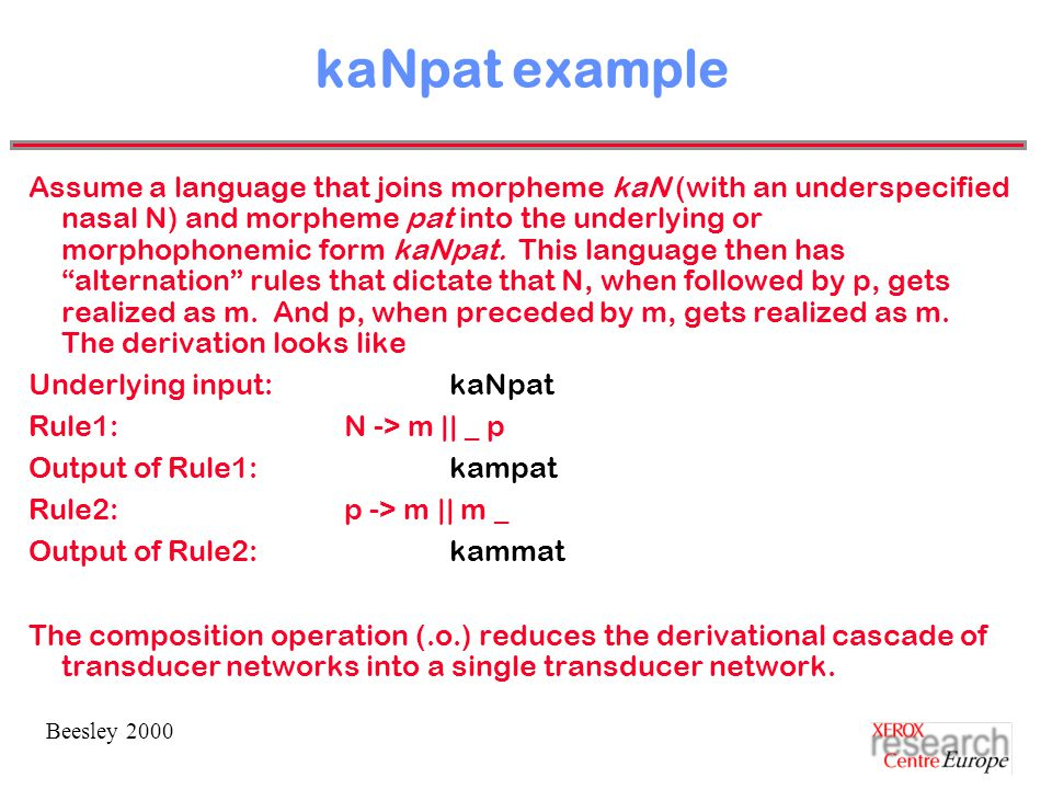 Beesley 2000 kaNpat example Assume a language that joins morpheme kaN (with an underspecified nasal N) and morpheme pat into the underlying or morphophonemic form kaNpat.