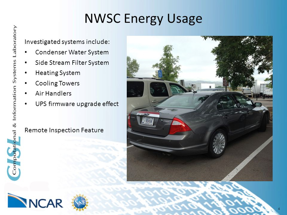 4 NWSC Energy Usage Investigated systems include: Condenser Water System Side Stream Filter System Heating System Cooling Towers Air Handlers UPS firmware upgrade effect Performance Usage Effectiveness (PUE) = Total Facility Energy/IT Equipment Energy 1.0 ≤ PUE ≤ ∞ Remote Inspection Feature