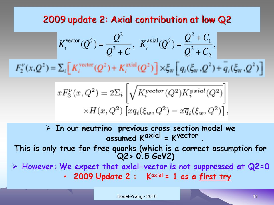update 2: Axial contribution at low Q2 11  In our neutrino previous cross section model we assumed K axial = K vector.
