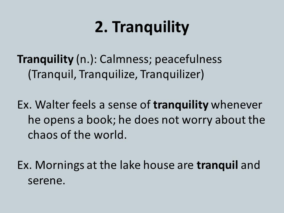 2. Tranquility Tranquility (n.): Calmness; peacefulness (Tranquil, Tranquilize, Tranquilizer) Ex.