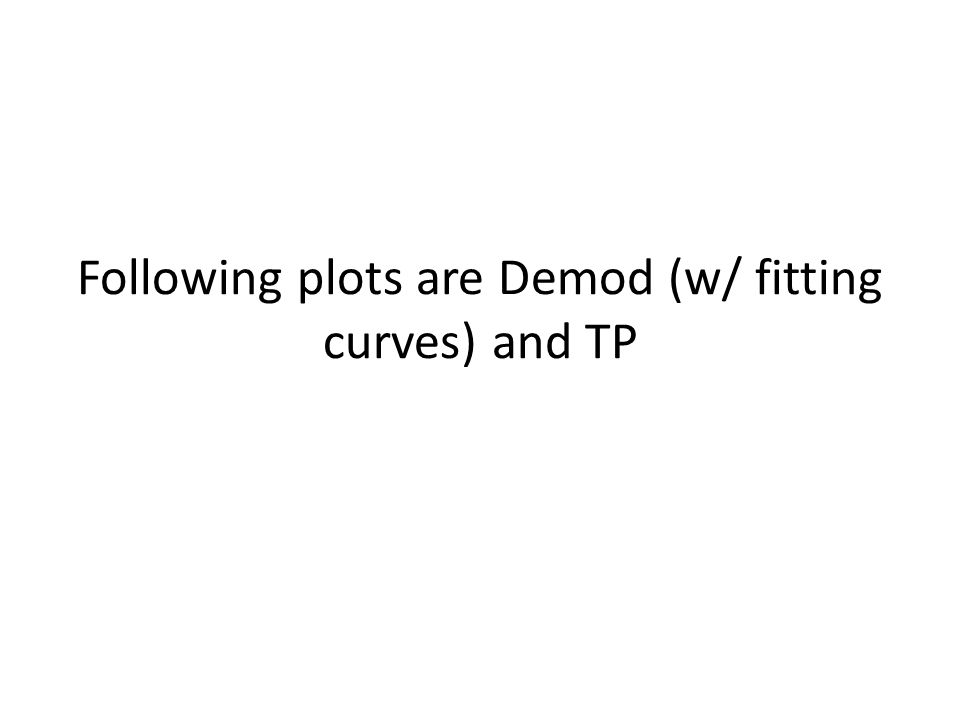 Following plots are Demod (w/ fitting curves) and TP