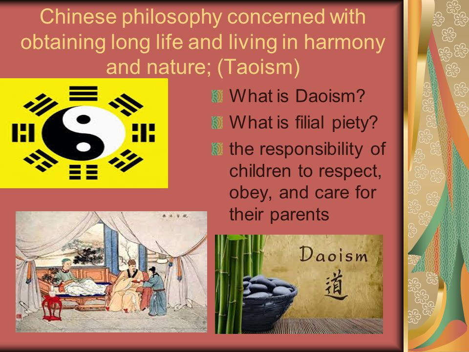 Chinese philosophy concerned with obtaining long life and living in harmony and nature; (Taoism) What is Daoism.