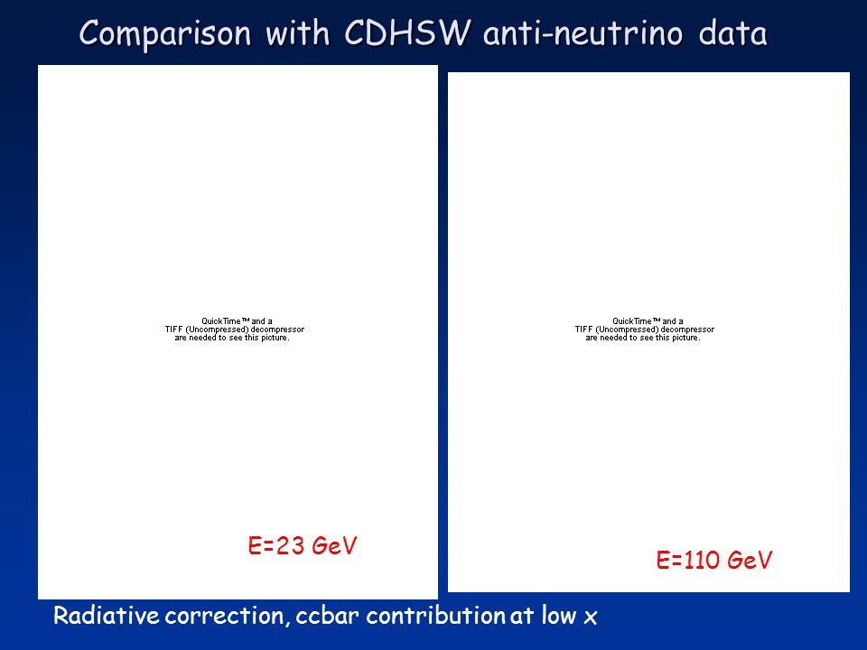 Comparison with CDHSW anti-neutrino data Radiative correction, ccbar contribution at low x E=23 GeV E=110 GeV