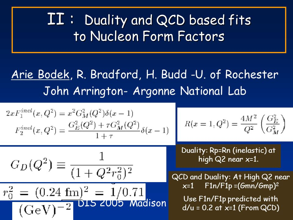 DIS 2005 Madison, April, 2005 II : Duality and QCD based fits to Nucleon Form Factors Arie Bodek, R.