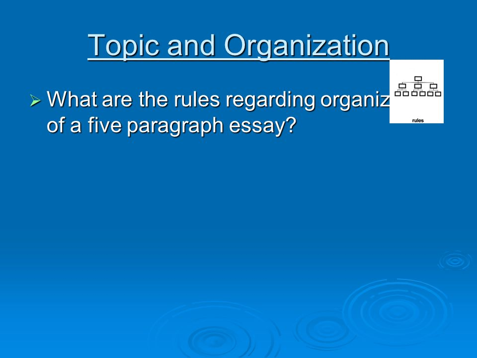 Topic and Organization  What are the rules regarding organization of a five paragraph essay