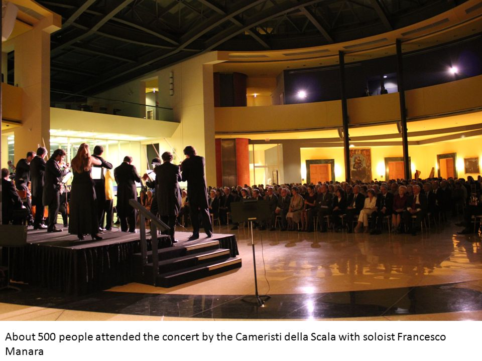 About 500 people attended the concert by the Cameristi della Scala with soloist Francesco Manara