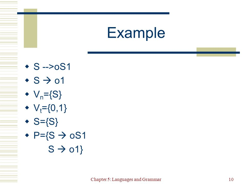Chapter 5: Languages and Grammar10 Example  S -->oS1  S  o1  V n ={S}  V t ={0,1}  S={S}  P={S  oS1 S  o1}