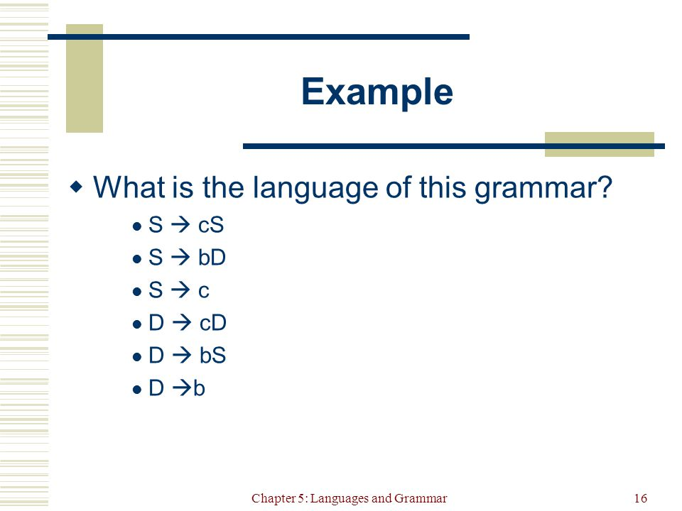 Chapter 5: Languages and Grammar16 Example  What is the language of this grammar.