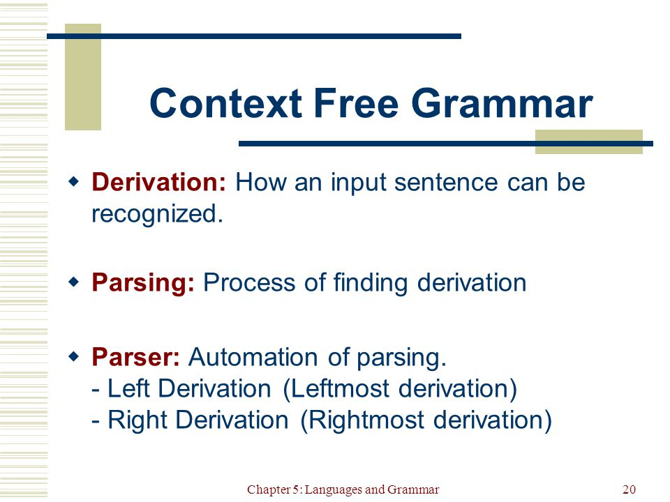 Chapter 5: Languages and Grammar20 Context Free Grammar  Derivation: How an input sentence can be recognized.