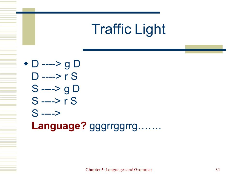 Chapter 5: Languages and Grammar31 Traffic Light  D ----> g D D ----> r S S ----> g D S ----> r S S ----> Language.