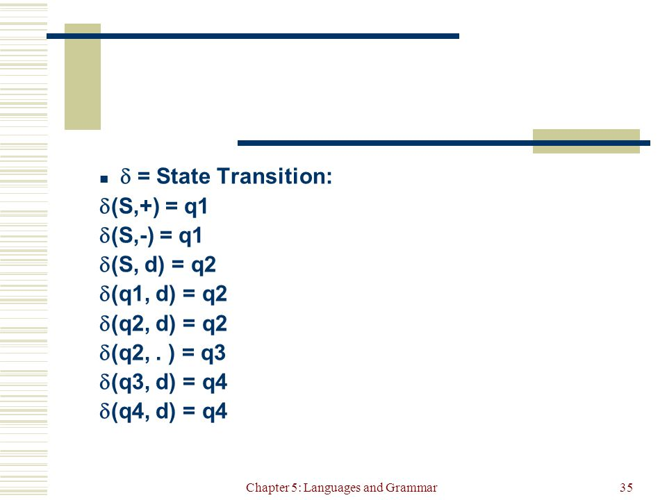 Chapter 5: Languages and Grammar35  = State Transition:  (S,+) = q1  (S,-) = q1  (S, d) = q2  (q1, d) = q2  (q2, d) = q2  (q2,.