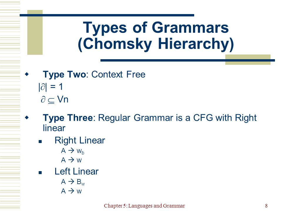 Chapter 5: Languages and Grammar8 Types of Grammars (Chomsky Hierarchy)  Type Two: Context Free |  | = 1   Vn  Type Three: Regular Grammar is a CFG with Right linear Right Linear A  w b A  w Left Linear A  B w A  w